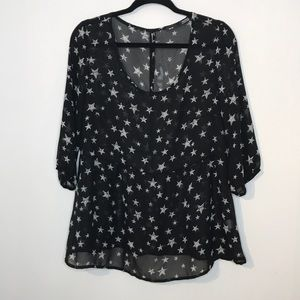 Sheer star printed flowy blouse